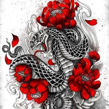 Asian Snake With Red Flowers Tattoo