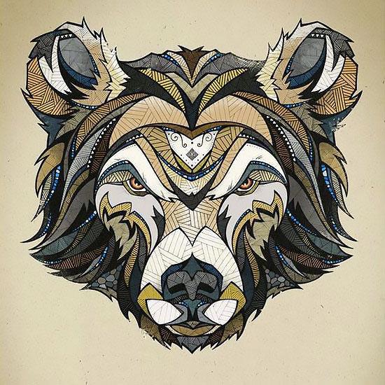 Awesome Bear Head Tattoo Design