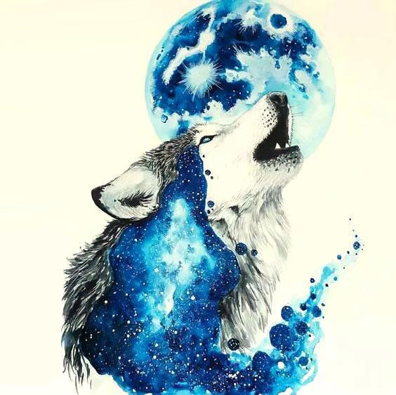 Awesome Blue Howling Wolf Tattoo Design