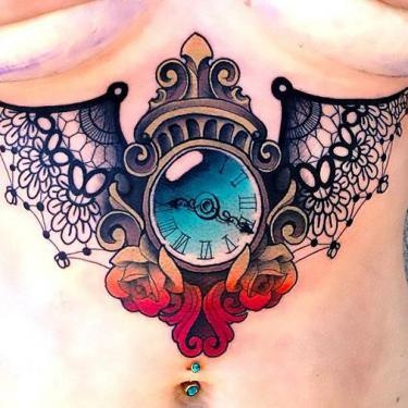 Best Clock Under Breast Tattoo