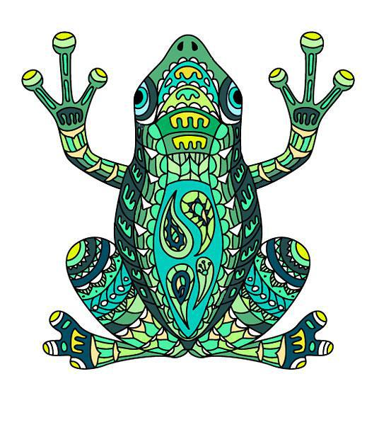 Awesome Frog Colorful Tattoo Design