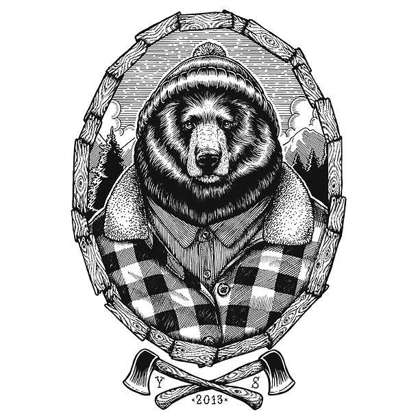 Awesome Grizzly Bear Tattoo Design