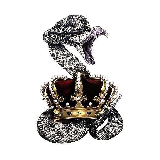 Awesome Realistic Snake With Crown Tattoo Design