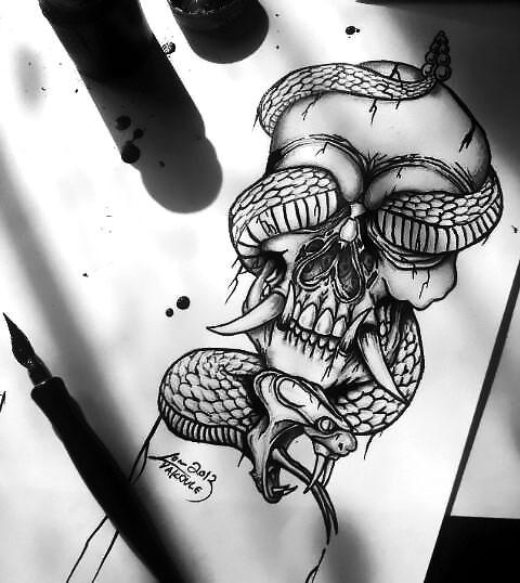 Awesome Snake Skull Tattoo Design