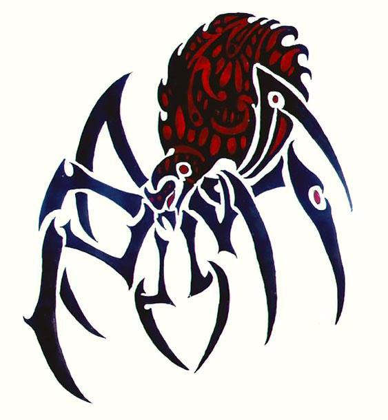 Awesome Tribal Spider Tattoo Design