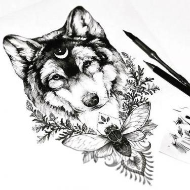 Awesome Wolf Head With Moon and Flowers Tattoo
