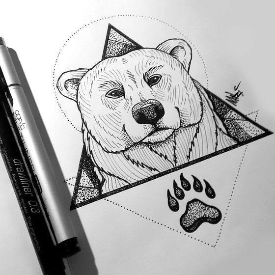 Bear Head and Paw In Triangle Tattoo Design