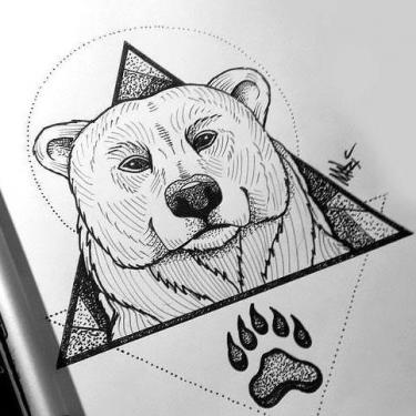 Bear Head and Paw In Triangle Tattoo