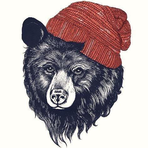 Bear In Hat Tattoo Design
