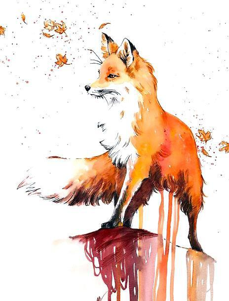 Beautiful Autumn Fox Tattoo Design