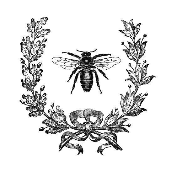 Beautiful Bee In Flowers Tattoo Design