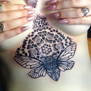 Best Dotwork Under Breast Tattoo