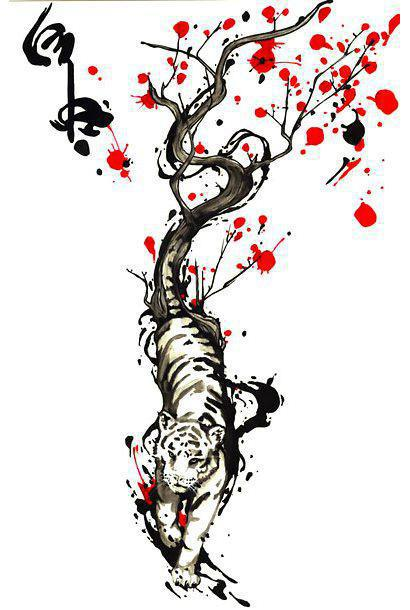 Beautiful Chinese Tiger Tattoo Design