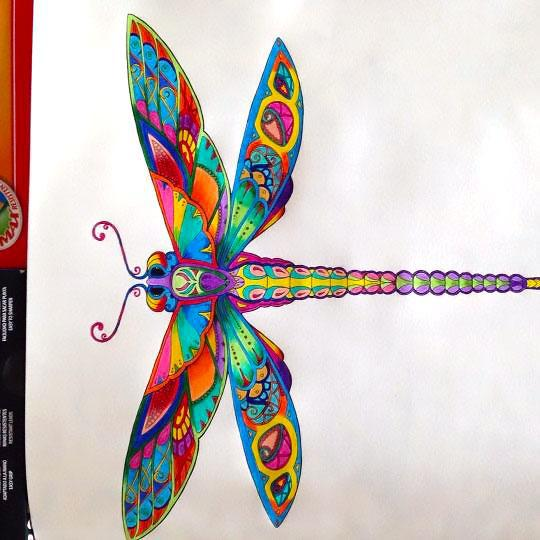 Beautiful Colorful Dragonfly Tattoo Design