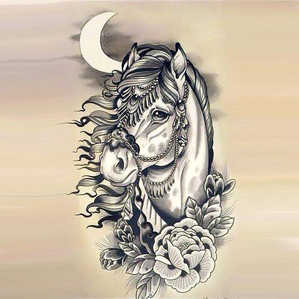 Beautiful Horse Head Tattoo Design