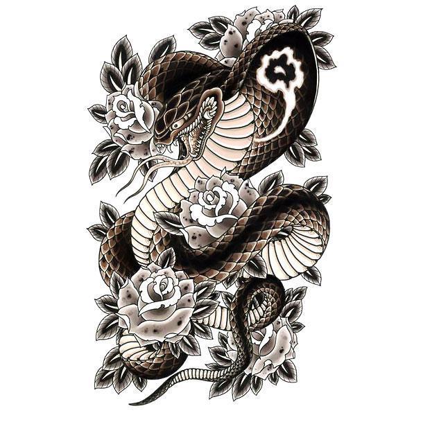 Beautiful Japanese Snake Tattoo Design
