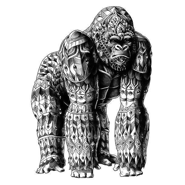 Beautiful Silverback Gorilla Tattoo Design