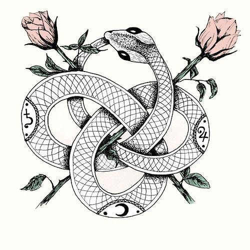 Beautiful Snake With Roses Tattoo Design