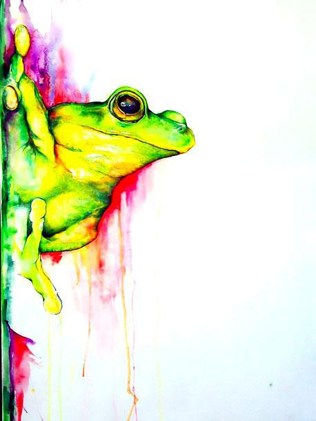 Beautiful Watercolor Tree Frog Tattoo Design