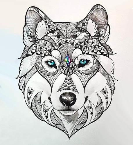Beautiful Wolf Head Tattoo Design