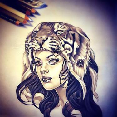 Beautiful Womam With Tiger Head Dress Tattoo