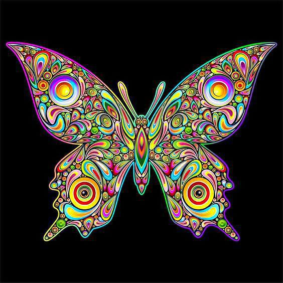 Beautifull Psychedelic Butterfly Tattoo Design