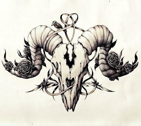 Beautifull Ram Skull Tattoo Design