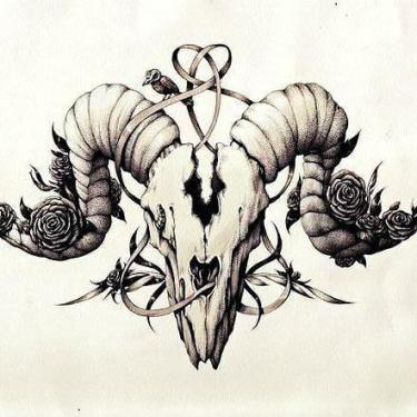 Beautifull Ram Skull Tattoo