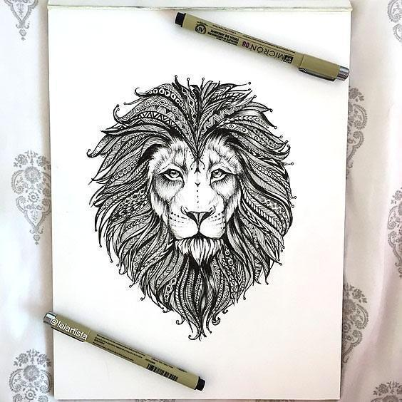 Beautiful Lion Head Tattoo Design