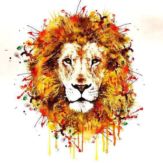 Beautiful Watercolor Lion Tattoo Design