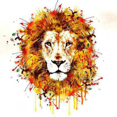 Beautiful Watercolor Lion Tattoo