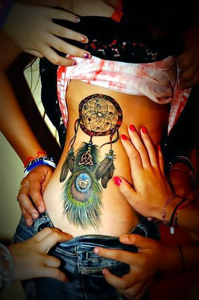 Best Dreamcatcher on Side Tattoo Idea