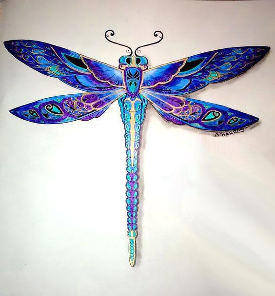 Best Blue Dragonfly Tattoo Design