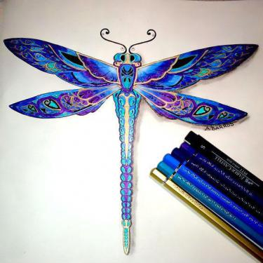Best Blue Dragonfly Tattoo
