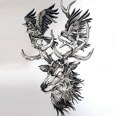Best Deer Head With Birds Tattoo