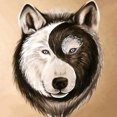 Best Yin Yang Wolf Face Tattoo