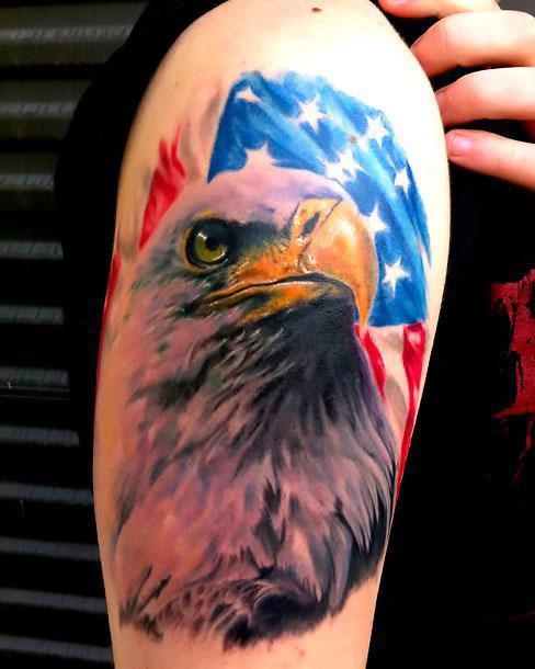 Best Eagle and Flag Tattoo Idea