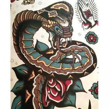 Big Traditional Snake Tattoo
