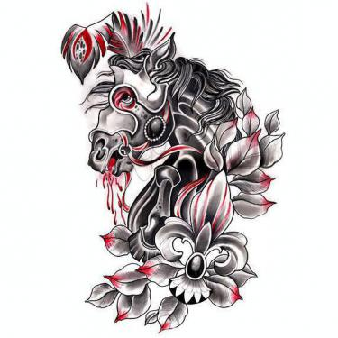Black and Red Trash Horse Tattoo