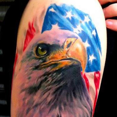 Best Eagle and Flag Tattoo
