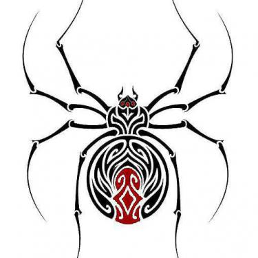 Black and Red Tribal Spider Tattoo
