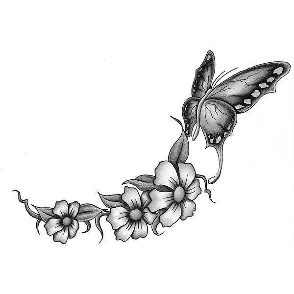 Black and White Butterfly And Flowers Tattoo Design
