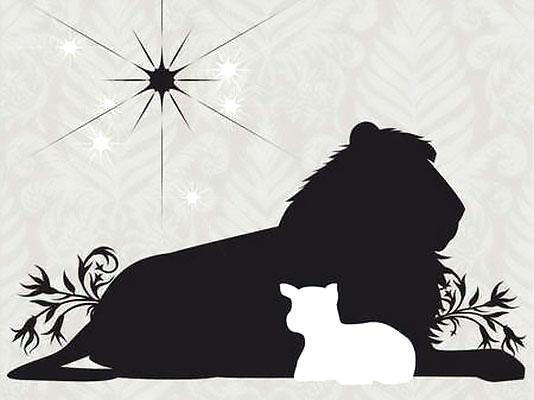 Black and White Lion And Lamb Tattoo Design
