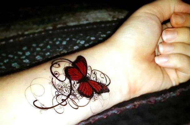 Arm Gothic Butterfly Tattoo Idea