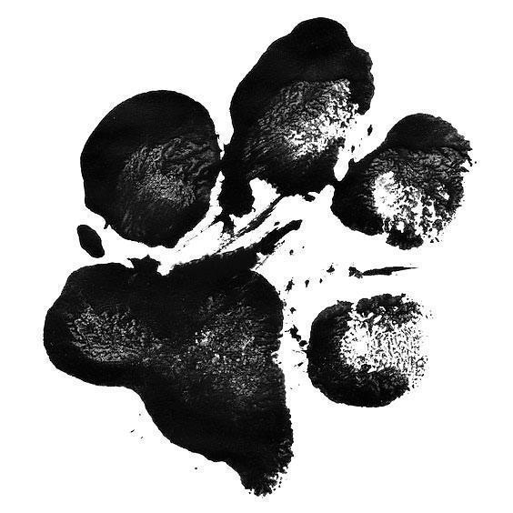 Black Dog Paw Print Tattoo Design
