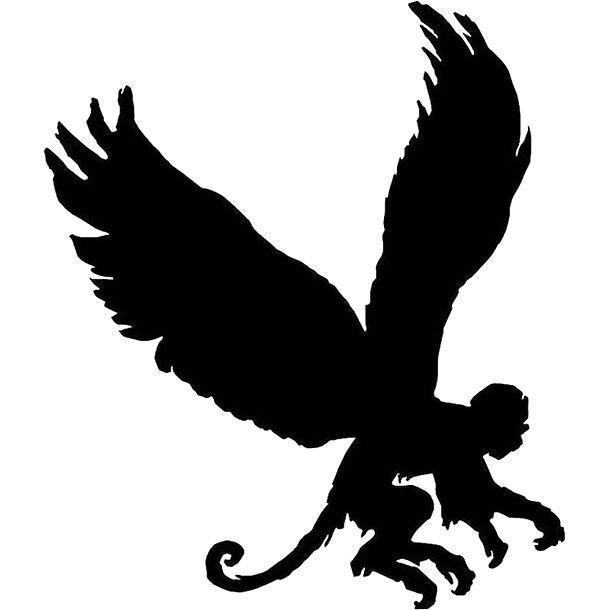 Black Flying Monkey Tattoo Design