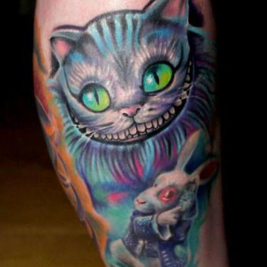 Cheshire Cat and Rabbit Tattoo