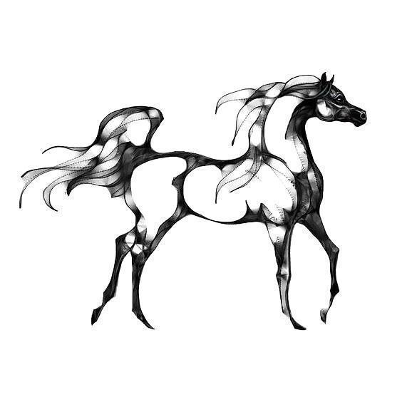 Black Horse Silhouette Tattoo Design