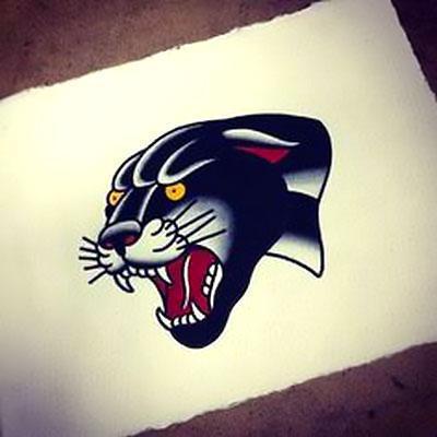 Cool Black Leopard Face Tattoo Design