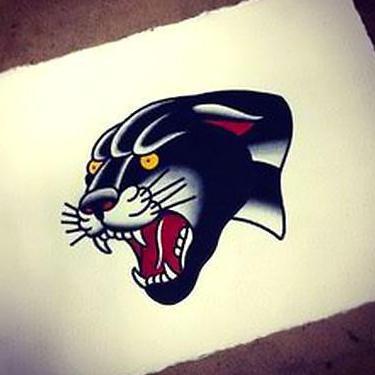 Cool Black Leopard Face Tattoo